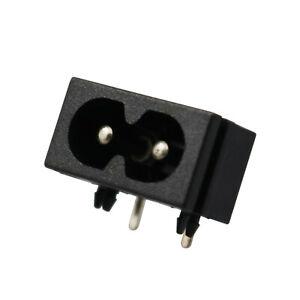 5 Pcs IEC320 C8 2 Terminal Power Plug Inlet Socket AC 250V 2.5A Black Sa