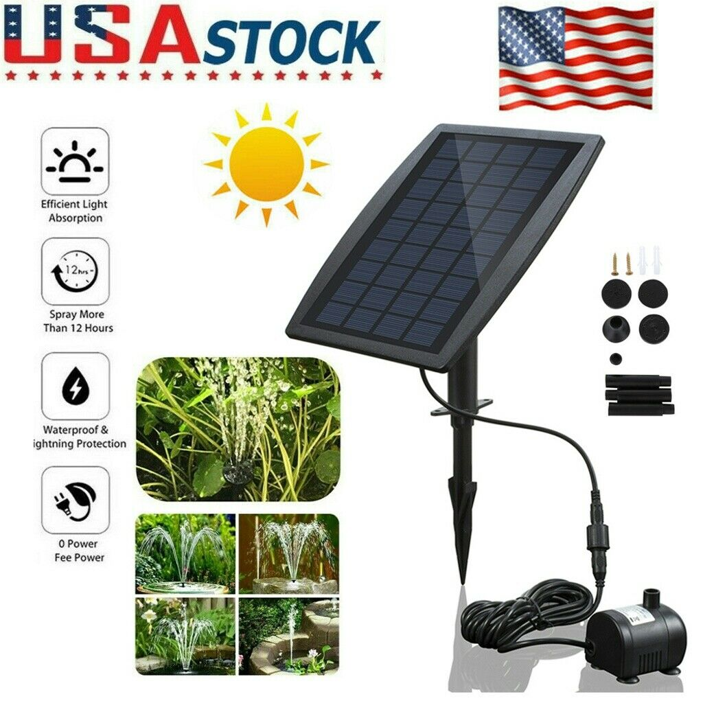 Samfox Water Fountain Solar Power Panel Fountain Water Submersible Pump Kit for Garden Decoration