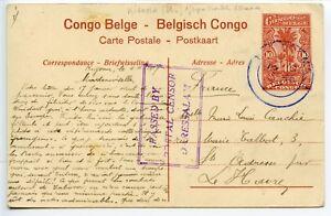 TANGANYIKA-1917-10c-Belg-Congo-pmk-KIGOMA-cds-PASSED-BY-POSTAL-CENSOR-DARESSALAM
