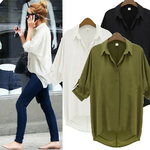 Boyfriend-Style-Plus-Size-Sheer-Chiffon-Batwing-Dolman-Casual-Top-Blouse-T-Shirt