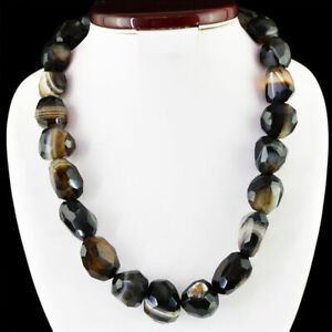 1136-Carats-Natural-Earth-Mined-Untreated-Black-ONYX-Round-Shape-Beads-Necklace
