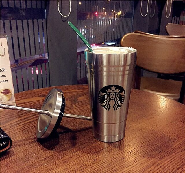 Large 500ML New Starbucks Coffee Water Stainless Steel Straw Bottle Mug Cup