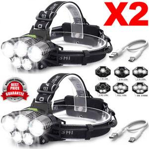 2X-90000LM-5T6-LED-Headlamp-Headlight-Head-Rechargeable-Flashlight-Work-Light