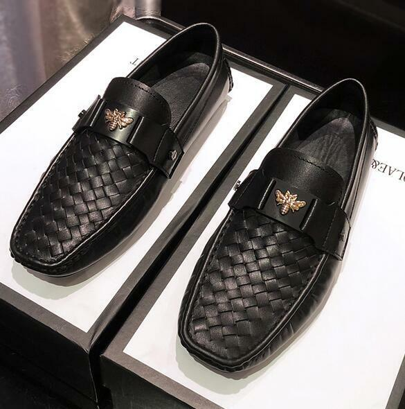 Scarpe casual da uomo  uomos Woven Genuine Leather Moccasins Driving Oxford Casual Bee Loafers Shoes