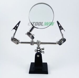 Third Hand Soldering Iron Stand Helping Clamp Magnifying Glass with 2 Alligator