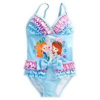 Disney Princess Sofia & Amber Swimsuit Size 4 Year One Piece Ruffles
