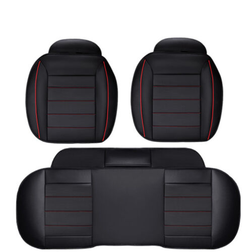 3PCS PU Leather Charcoal Car Seat Cushion Full Surround Cover Mat Protective