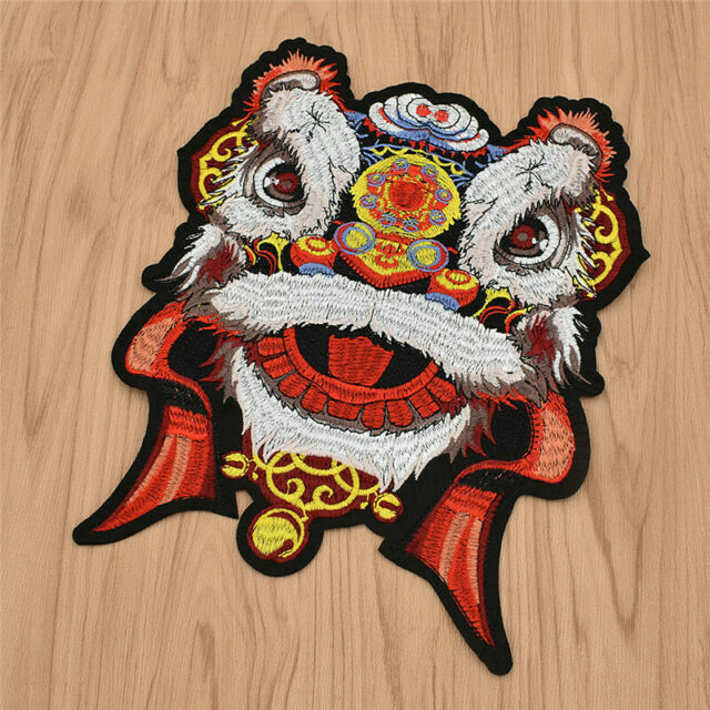 1Pc Large 25CM Dancing Lion Tiger Patch Animal Applique DIY Sewing Accessories