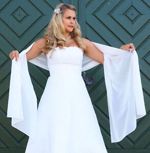 Abiti Da Cerimonia 7 Bis.Sciarpa Abito Da Sposa Stola Scialle Chiffon Bianco Avorio Giacca