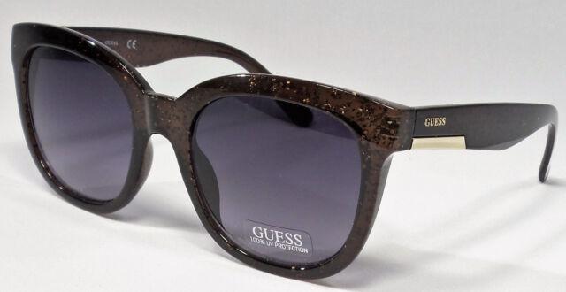 0161096323 GUESS GF0299 05B Ladies Black Glitter Frame Grey Lens Designer Sunglasses  NEW