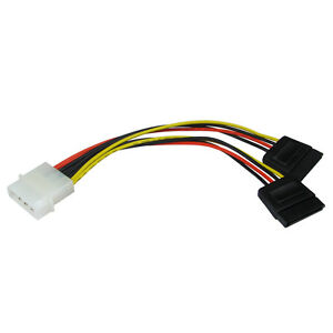 Molex-to-SATA-Power-Y-Splitter-Adaptor-Cable-Lead-2-Way-4-Pin-To-2-x-15-Pin
