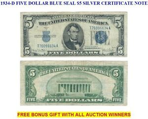 Series of 1934 $5 Five Dollar Silver Certificate Note VG-F Old US Currency