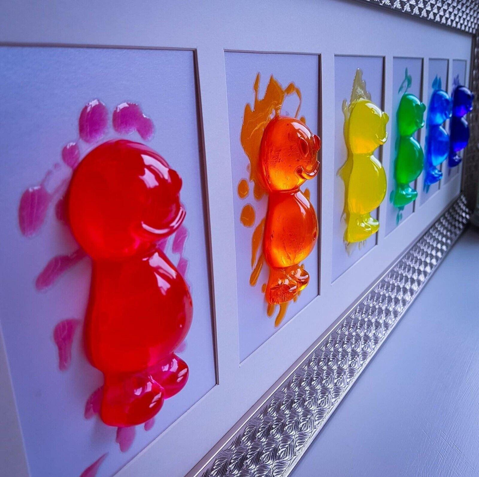 Handmade Resin Jelly Baby 3D Framed Wand Kunst