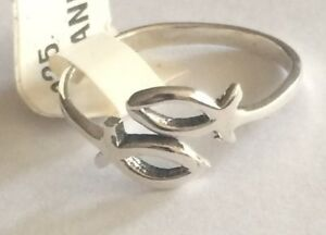 Very Pretty Adjustable STAR FISH Ring All Genuine Sterling .925 Sizes 5,6,9,
