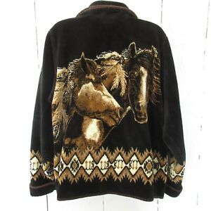 Outback-Trading-Company-Fleece-Jacket-L-Large-Black-Horse-Western-Button-Up