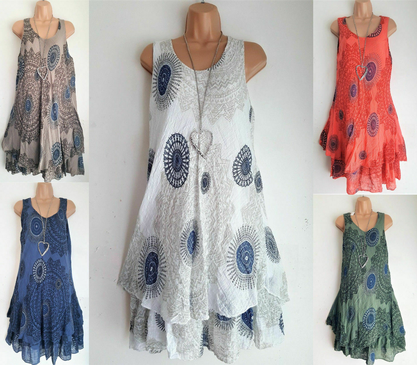 986d79b86ab Womens Summer Boho Printed Sleeveless Dress Loose Mini Shirt Sundress  Casual US