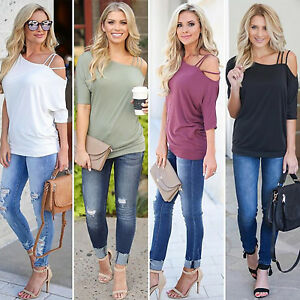 Women-Casual-Cold-Shoulder-Short-Sleeve-Blouse-Tops-Ladies-Summer-T-Shirt-Tee-US