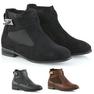 Womens-Low-Heel-Chelsea-Boots-Ladies-Buckle-Biker-Pull-On-Elastic-Casual-Booties
