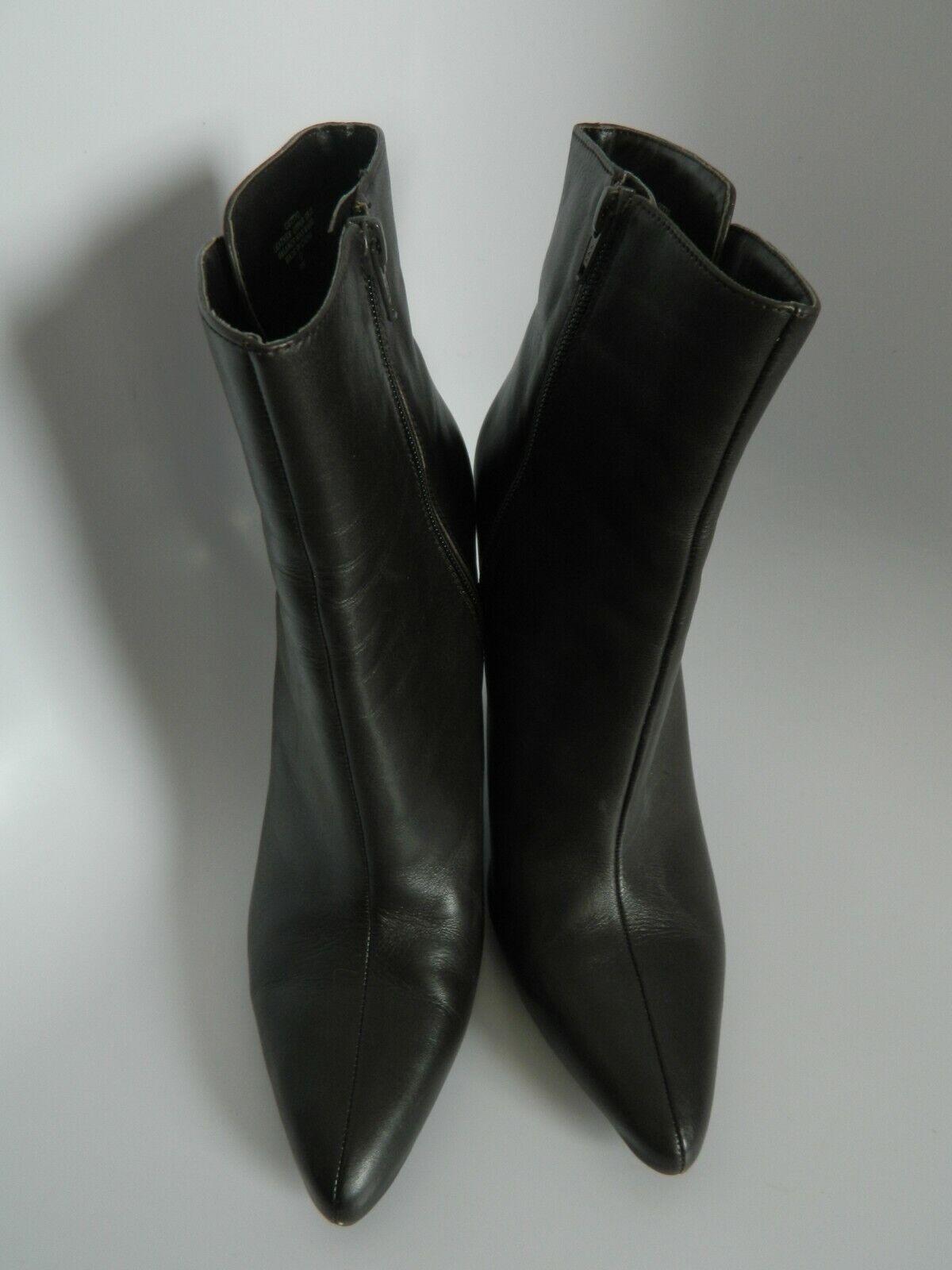 "Nine West Gettyo Womens Brown Ankle Zipper 4"" Heel Boots Size 9M 0812"