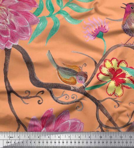 Blätter und Dahlie Blume Stoff 1 Meter bedrucken FW-120L Soimoi Stoff Vogel