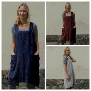 Housework-Cotton-Cotton-Back-Wrap-Japanese-Women-Casual-Apron-Pinafore-Dress