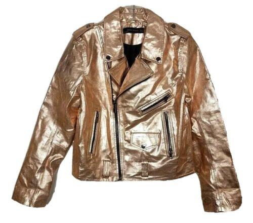 Zara Woman Rose Gold Metallic Faux Vegan Leather S