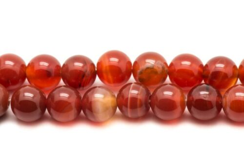 Perles de Pierre Agate Rouge Orange Boules 8mm   4558550038012 10pc