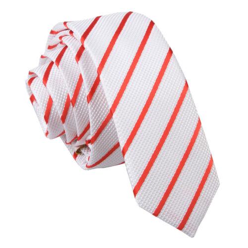 DQT Tissé Rayure Simple Rouge Blanc Classique skinny tie hanky Cufflinks Set