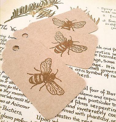 10 Buff Stile Vintage Honey Bee Tag Bagagli ~ Wedding Omaggi ~ Regalo Etichette Kraft- Essere Altamente Elogiati E Apprezzati Dal Pubblico Che Consuma