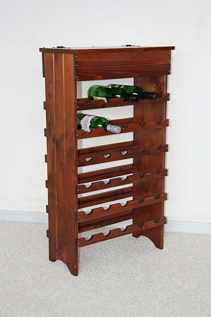 Bois Massif étagère à vin 30 Bouteilles Support étagère Bar vin Armoire Maison Bar KIRSCH