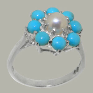 Solid-925-Sterling-Silver-Full-Pearl-amp-Turquoise-Womens-Cluster-Ring