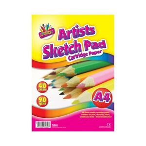Sketch Pad Smooth white Drawing Artist Paper on SPIRAL Book 40 sheets 90gsm w