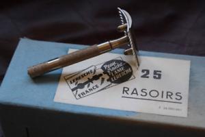 Ancien-Rasoir-de-Surete-LERESCHE-Monture-901-Neuf-d-039-epoque-NOS-Made-in-France