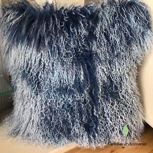 40x40CM GENUINE MONGOLIAN SHEEPSKIN LAMB WOOL FUR CUSHION WITH PAD Home Decor Cushions LIGHT BROWN
