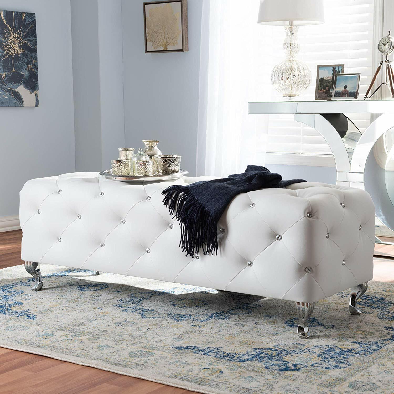 Pommel Upholstered Bedroom Bench Silver Polished Brown Leather Small For Sale Online Ebay