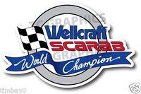 Wellcraft Scarab World Champion Boat Grey Sticker Decal