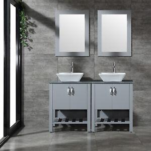 48 Bathroom Vanity Wood Cabinet Double Sink Glass Top W Mirror Faucet Set Ebay