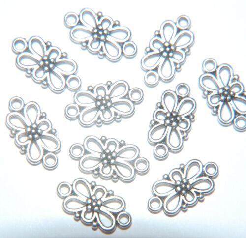 20 x Conector de filigrana floral placa de plata Antiqued había//Araña De Carpintero ~ 15mm