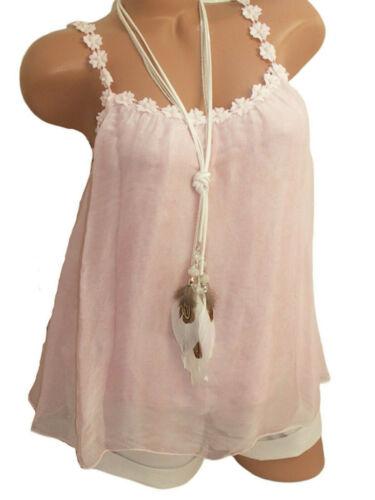 Batik Hängerchen Babydoll-Top Schmuck-Träger Seidenanteil 36 38 40  rosa Neu
