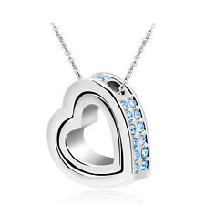 Women Double Heart light blue Crystal Silver Charm Pendant Chain Necklace L3SX