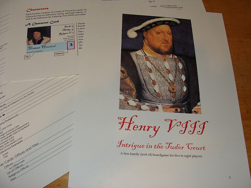 Intrigue in the Tudor Court King Henry VIII Boardgame 5 to 8 Players