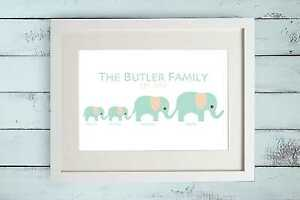 bd55e4383 Personalised Elephant Family Tree Print Gift Bespoke Present New ...