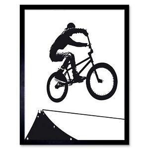 Painting Sport Bmx Bike Bicycle Jump Air Ramp Black White 12X16 Framed Art Print