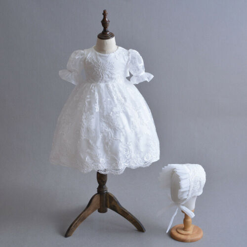Gorgeous Baby Long Lace Baptism Gown Toddler Embroidery Corded Christening Dress