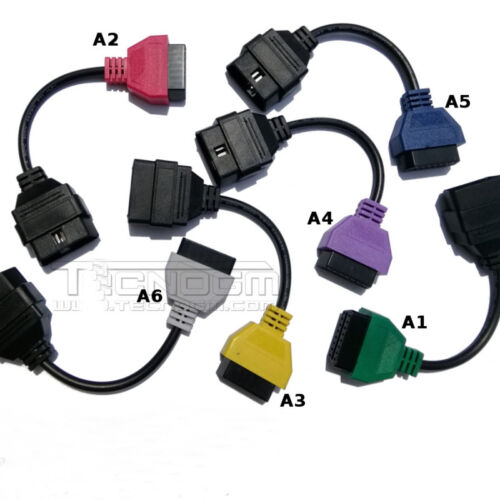 6Pcs ELM OBDII Adapter Cable Set Car Diagnostic Connector For Fiat Alfa Chrysler