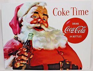 Coke Christmas Ads.Details About Coca Cola Coke Santa Vintage Tin Metal Ad Sign Christmas Holiday Wall Decor Gift