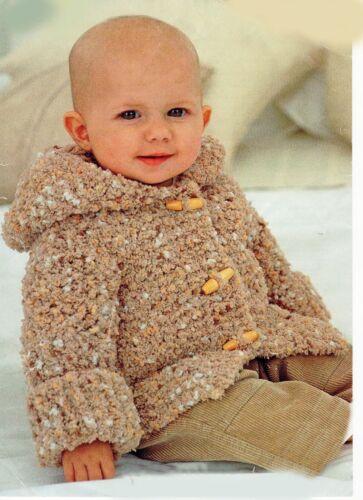 Knitting Pattern-Baby 6yrs à Capuche épaisse Veste PO304 6 tailles