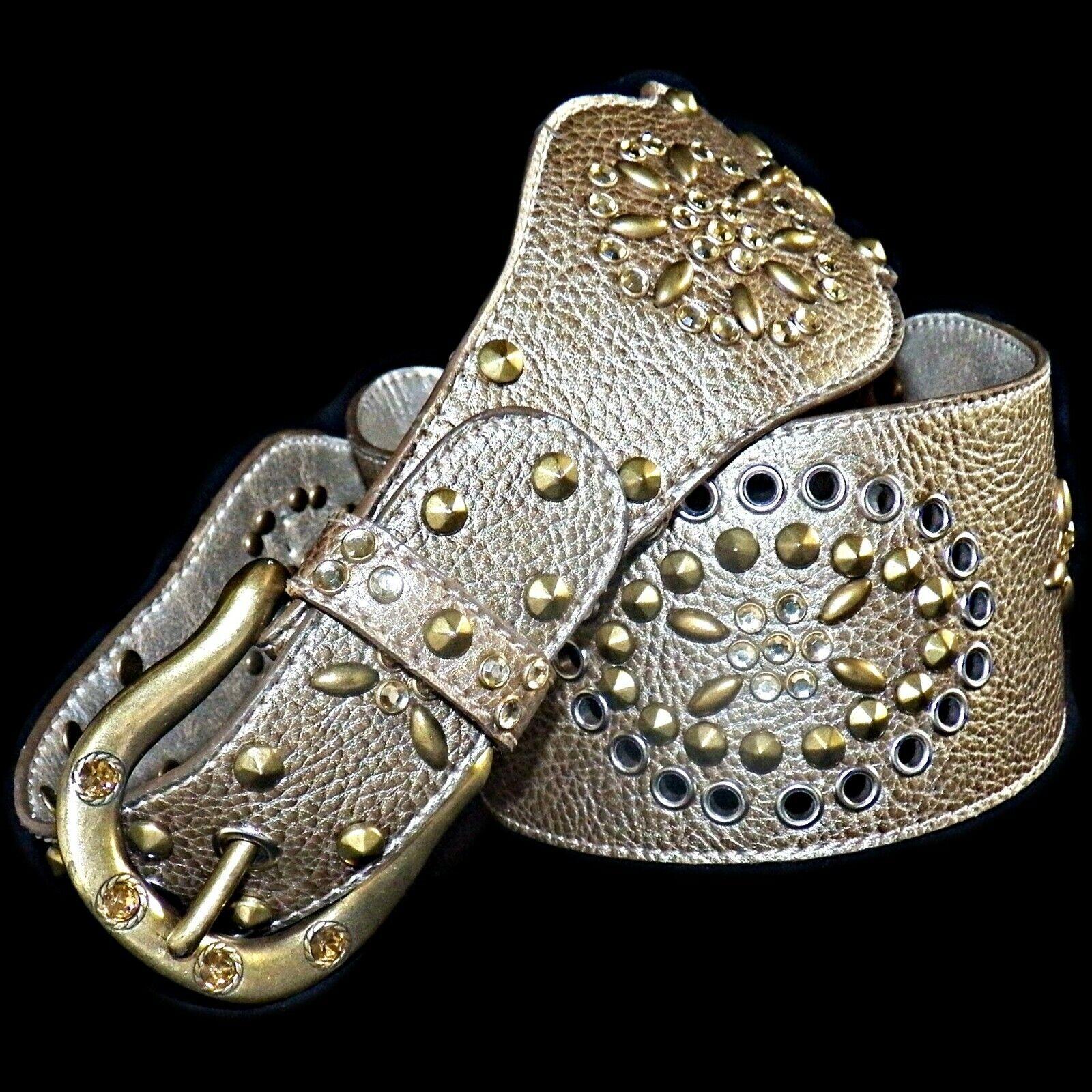 Kathy Van Zeeland Bronze Gold Scalloped Studded Western Crystal Belt Large L
