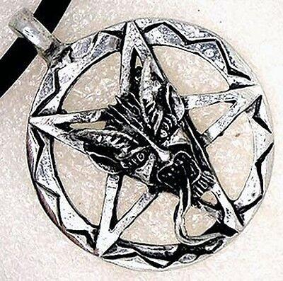 Inverted Pentacle Pentagram Lucifer Satan LaVeyan Devil Baphomet PEWTER PENDANT