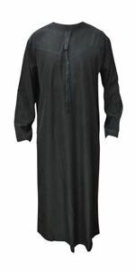 Mens Omani Black Arab Robe dishdash Islamic mens Clothing 54-62 Jubba Thobe